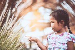 Muchacha asiática linda del pequeño niño que juega con la flor de la hierba Fotografía de archivo libre de regalías