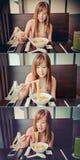 Muchacha asiática que come los Ramen japoneses en sistema de color del vintage fotografía de archivo libre de regalías