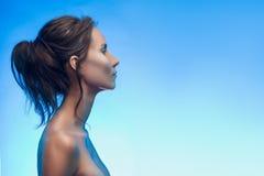 Muchacha asiático-caucásica mezclada bronceada hermosa con maquillaje plateado foto de archivo