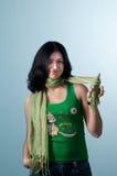 Muchacha asoleada con la bufanda en su dedo Foto de archivo libre de regalías