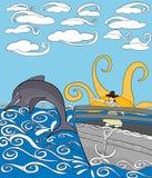 Muchacha asombrosa mientras que el delfín de observación salta del océano Fotografía de archivo libre de regalías