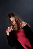 Muchacha astuta insidiosa Fotos de archivo