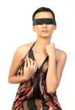 muchacha atada con la venda negra Fotografía de archivo libre de regalías