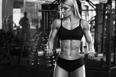 Muchacha atlética atractiva que se resuelve en el gimnasio, haciendo el ejercicio para el bíceps Mujer de la aptitud, concepto de foto de archivo libre de regalías