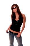 Muchacha atractiva 2 del teléfono celular Fotos de archivo libres de regalías