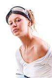 Muchacha atractiva agradable en ropa de deportes con los vidrios Imagen de archivo