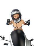 Muchacha atractiva con el equipo de la motocicleta Imagenes de archivo