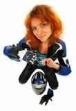 Muchacha atractiva con el equipo de la motocicleta Fotos de archivo