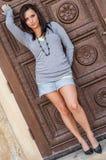 Muchacha atractiva con el modelo de moda marrón del pelo Fotografía de archivo libre de regalías