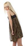 Muchacha atractiva con el pelo rubio largo en alineada del leopardo Fotos de archivo