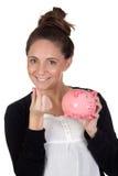 Muchacha atractiva con el rectángulo de dinero Imagen de archivo libre de regalías