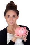 Muchacha atractiva con el rectángulo de dinero Foto de archivo