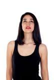Muchacha atractiva con la camiseta negra Imagenes de archivo