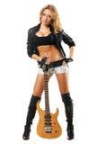 Muchacha atractiva con la guitarra eléctrica Fotografía de archivo libre de regalías