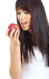 Muchacha atractiva con la manzana Fotos de archivo libres de regalías