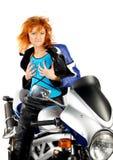 Muchacha atractiva con la motocicleta imagen de archivo