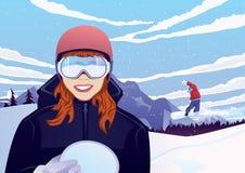 Muchacha atractiva con la snowboard al aire libre ilustración del vector