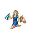 Muchacha atractiva con los bolsos Imagen de archivo