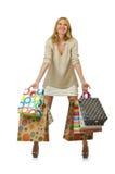 Muchacha atractiva con los bolsos Fotografía de archivo libre de regalías