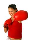 Muchacha atractiva con los guantes de boxeo Imágenes de archivo libres de regalías