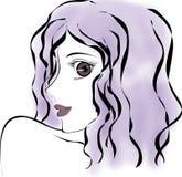 Muchacha atractiva con púrpura Imagen de archivo libre de regalías