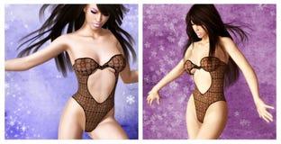 Muchacha atractiva con ropa interior negra Imagen de archivo libre de regalías