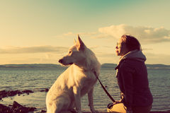 Muchacha atractiva con su perro casero en una playa, imagen colorised foto de archivo