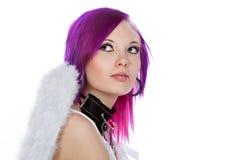 Muchacha atractiva de Emo con las alas del ángel Fotos de archivo libres de regalías