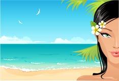 Muchacha atractiva de la playa stock de ilustración