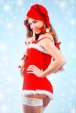 Muchacha atractiva de Santa Fotos de archivo libres de regalías