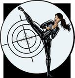 Muchacha atractiva del agente secreto stock de ilustración