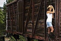Muchacha atractiva del país en un tren Fotos de archivo libres de regalías