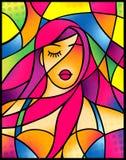 Muchacha atractiva del retrato dramático con diseñar el pelo violeta en estilo del vitral libre illustration