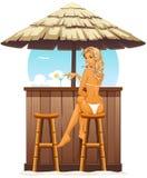 Muchacha atractiva en barra de la playa Imagen de archivo libre de regalías