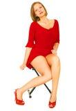 Muchacha atractiva en camisa roja Foto de archivo
