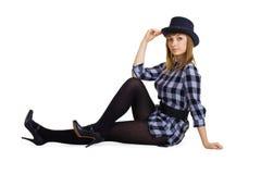 Muchacha atractiva en el sombrero Fotografía de archivo