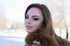 Muchacha atractiva en el terraplén del hielo del invierno Fotografía de archivo