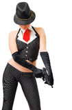 Muchacha atractiva en el traje del gángster con un arma Imágenes de archivo libres de regalías