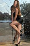 Muchacha atractiva en la presentación de cuero del mini vestido atractiva Imagen de archivo libre de regalías