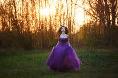 Muchacha atractiva en la puesta del sol Fotos de archivo