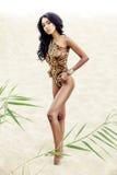 Muchacha atractiva en traje de baño en la playa Fotos de archivo