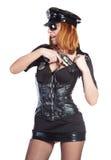 Muchacha atractiva en uniforme de la policía Fotografía de archivo