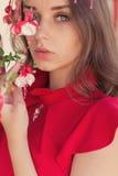 Muchacha atractiva hermosa en un vestido rojo con una mirada apacible que coloca colores cercanos Fotografía de archivo