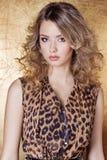 Muchacha atractiva hermosa en vestido del leopardo en maquillaje brillante en el estudio en un fondo del oro Imagen de archivo libre de regalías