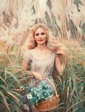 Muchacha atractiva joven con el pelo rizado rubio en vestido viejo gris claro con la cesta de hierbas medicinales a disposición,  imágenes de archivo libres de regalías