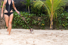 Muchacha atractiva joven con su beagle del perro casero en la playa de la isla tropical Bali, Indonesia Momentos felices Imágenes de archivo libres de regalías