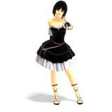 Muchacha atractiva joven de la historieta en ropa gótica Imagen de archivo