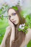 Muchacha atractiva joven en el manzanar Fotografía de archivo libre de regalías