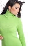 Muchacha atractiva que desgasta el suéter verde Fotos de archivo libres de regalías