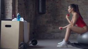 Muchacha atractiva que hace ejercicio con pesas de gimnasia rojas en el fondo de una pared de ladrillo almacen de metraje de vídeo